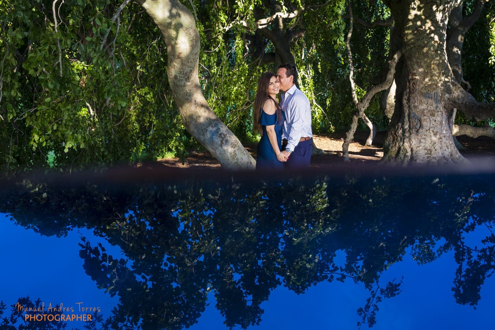sky reflection during engagement session