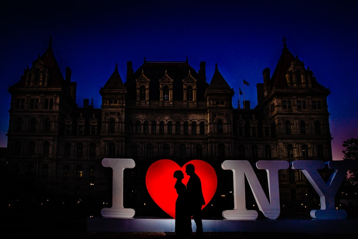 silhouette portrait of bride and groom downtown Albany NY